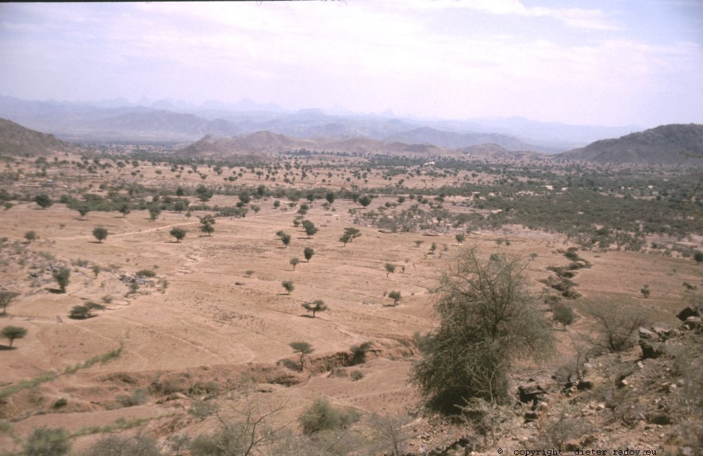 Eritrea 1997 &#8211; Weitgeöffnete, landwirtschaftlich genutzte Hochebene im nördlichen Bergland<br />Eritrea 1997 &#8211; open agricultured plateau in the northern highlands