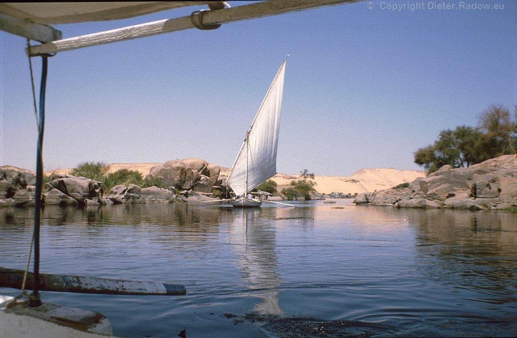 Ägypten Assuan: der Nil beim 1. Katarakt 1984