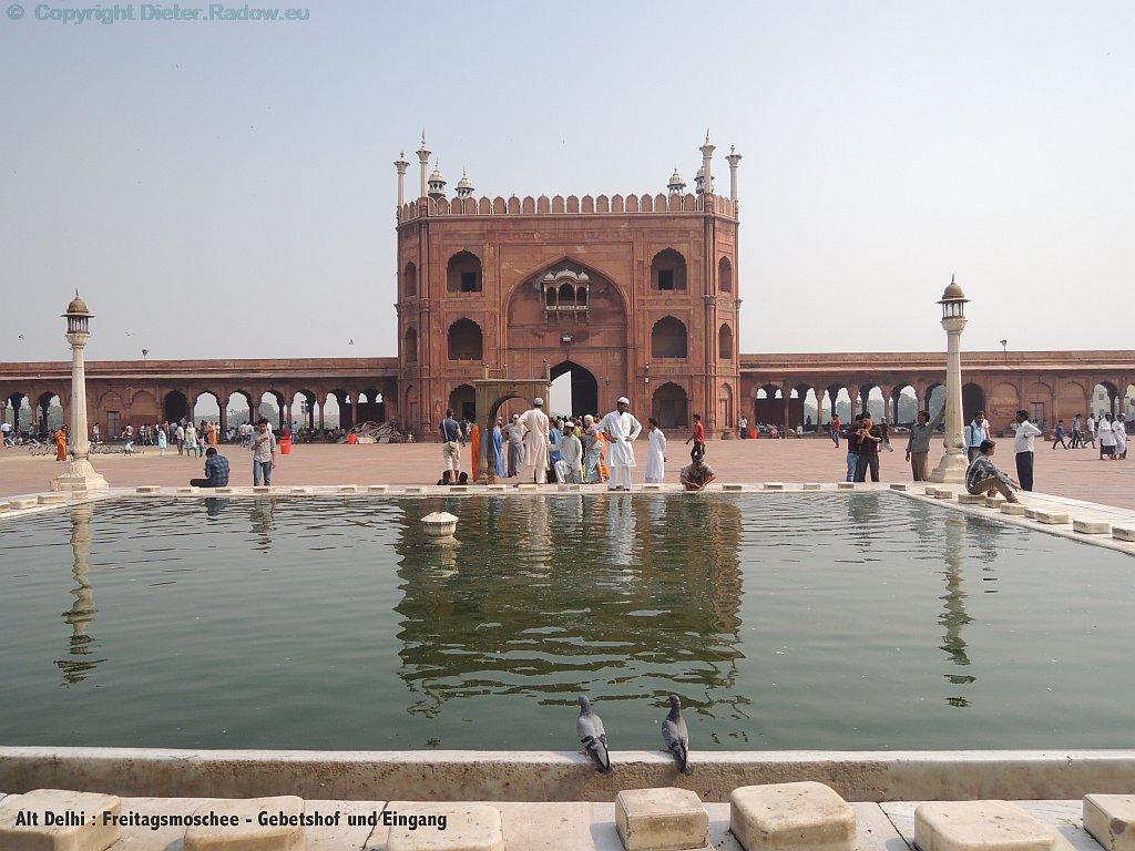 Indien Delhi Freitagsmoschee Gebetshof
