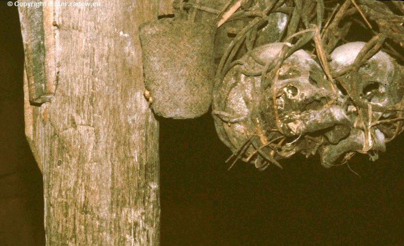Malayisch Borneo Schädel der Ahnen im Iban-Langhaus